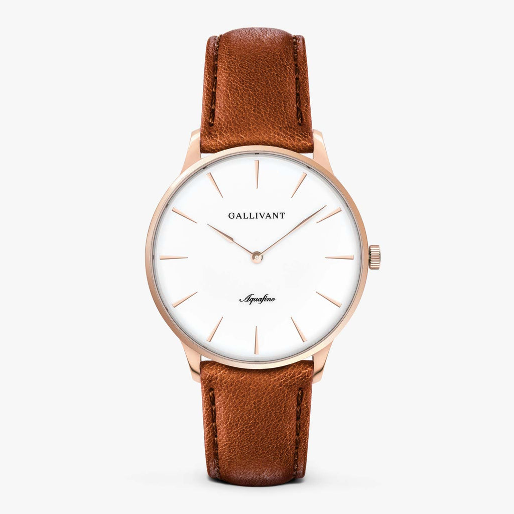 Gallivant Men's Aquafino watch with tan leather strap, rose gold case and white dial.
