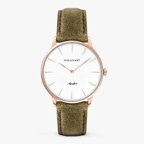 Gallivant Men's Aquafino watch with olive green suede strap, rose gold case and white dial.