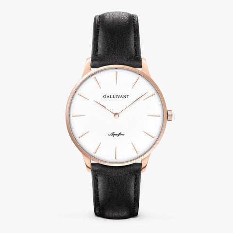 Gallivant Men's Aquafino watch with black leather strap, rose gold case and white dial.