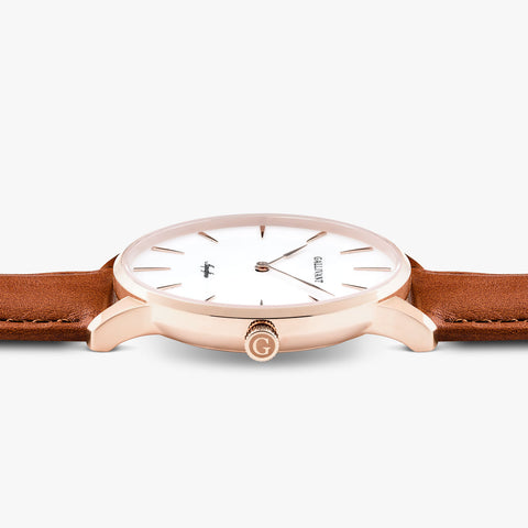 Side of Gallivant Men's Aquafino watch with tan colored leather strap, white dial and rose gold case.