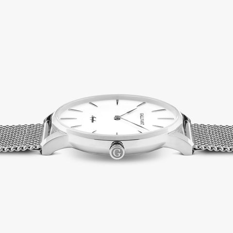 Gallivant Aquafino Watch lying on its side with interchangeable stainless steel mesh strap and silver fold over clasp.
