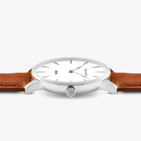 Side of Gallivant Men's Aquafino watch with tan colored leather strap, white dial and silver case.