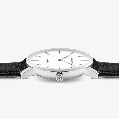 Side of Gallivant Men's Aquafino watch with black leather strap, white dial and silver case.