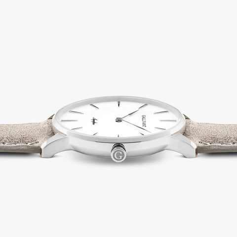 Side of Gallivant Men's Aquafino watch with light grey suede strap, white dial and silver case.