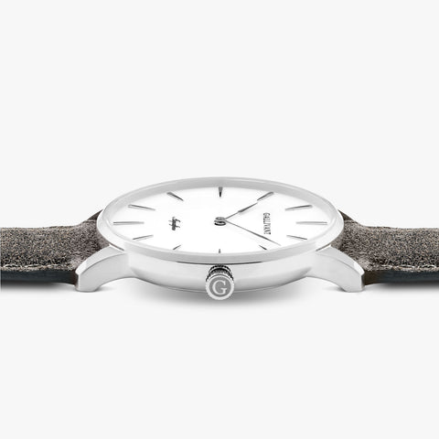 Side of Gallivant Men's Aquafino watch with charcoal grey suede strap, white dial and silver case.