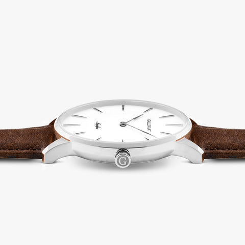Side of Gallivant Men's Aquafino watch with chestnut brown leather strap, white dial and silver case.