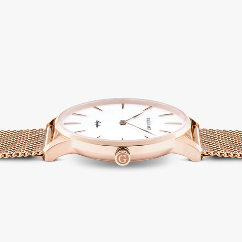 Side of Gallivant Men's Aquafino watch with stainless steel rose gold mesh strap, white dial and rose gold case.