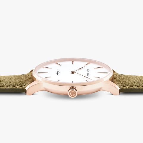 Side of Gallivant Men's Aquafino watch with olive green suede strap, white dial and rose gold case.