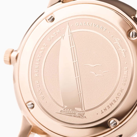 Stainless Steel Case Back with rose gold plating of Gallivant's Women's Aquafino watch.
