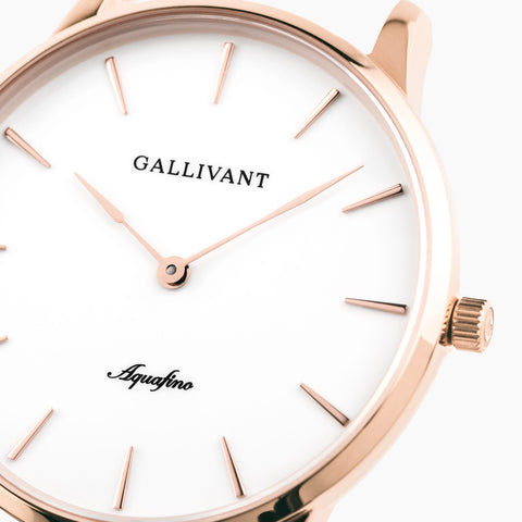 Front of Gallivant Women's Aquafino watch with white dial and scratch-resistant sapphire glass.
