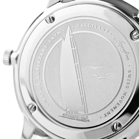 Stainless Steel Case Back with silver plating of Gallivant's Men's Aquafino watch.