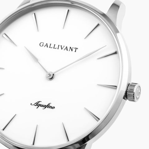 Front of Gallivant Men's Aquafino watch with white dial and scratch-resistant sapphire glass.