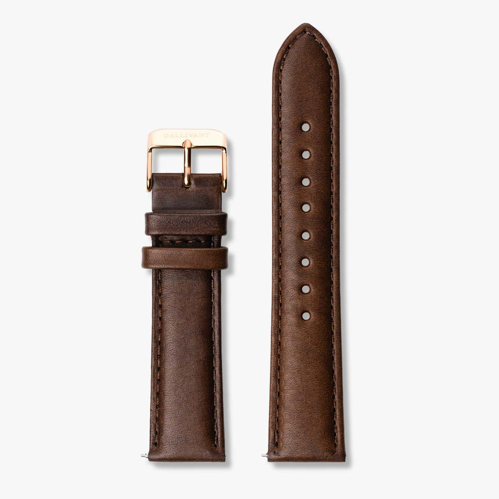Chestnut brown Italian leather strap with rose gold buckle and quick-release system.