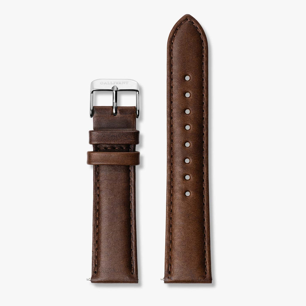 Chestnut brown Italian leather strap with silver buckle and quick-release system.