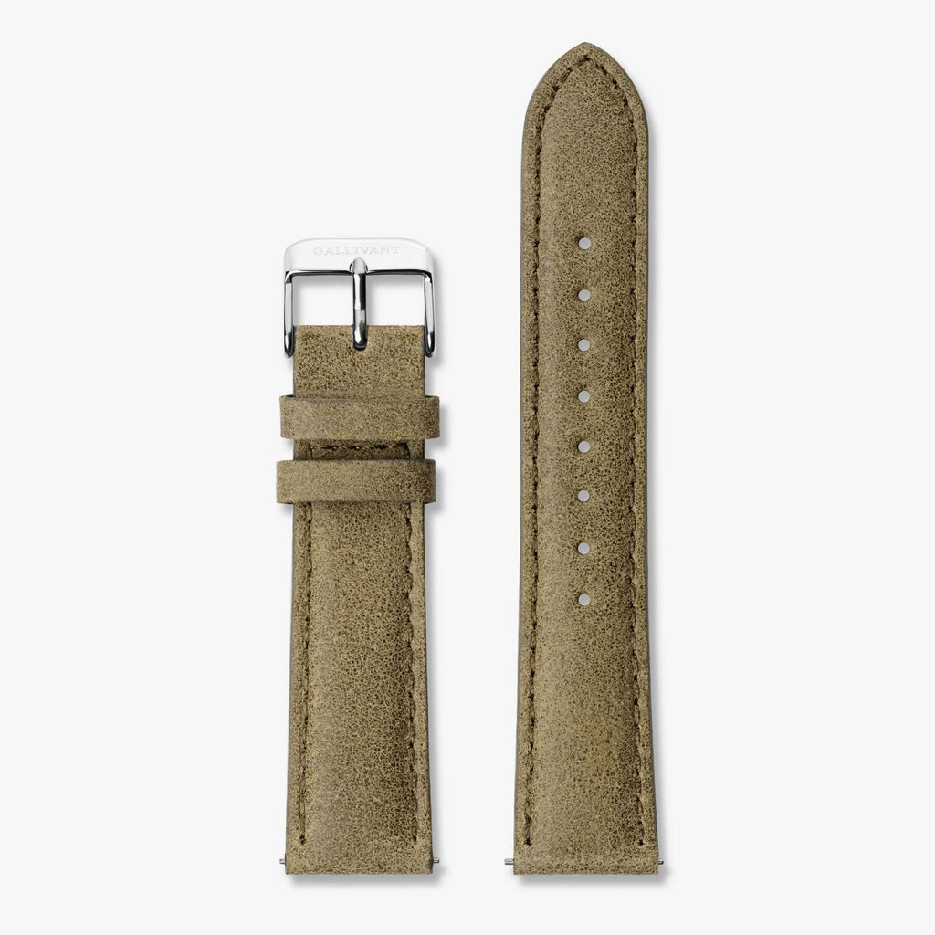 Olive green suede strap with silver buckle and quick-release system.