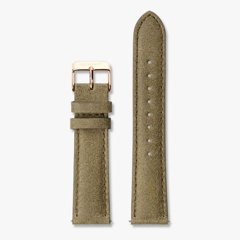 Olive green suede strap with rose gold buckle and quick-release system.