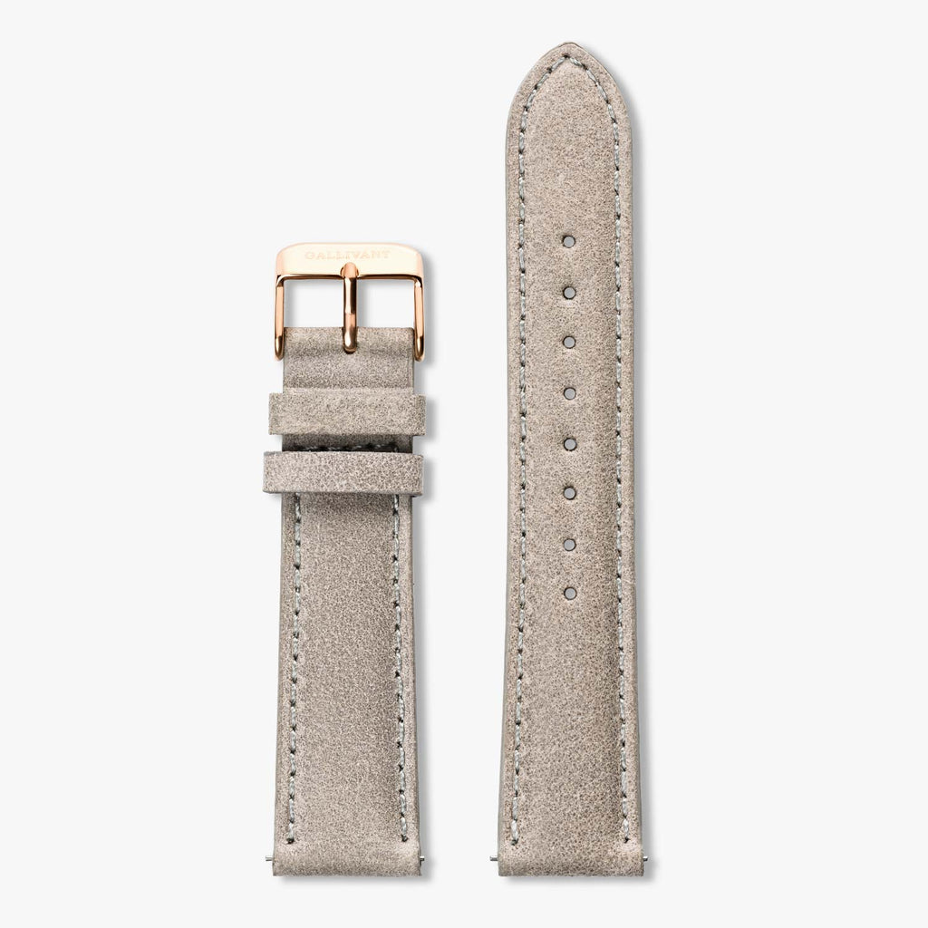 Light grey suede strap with rose gold buckle and quick-release system.