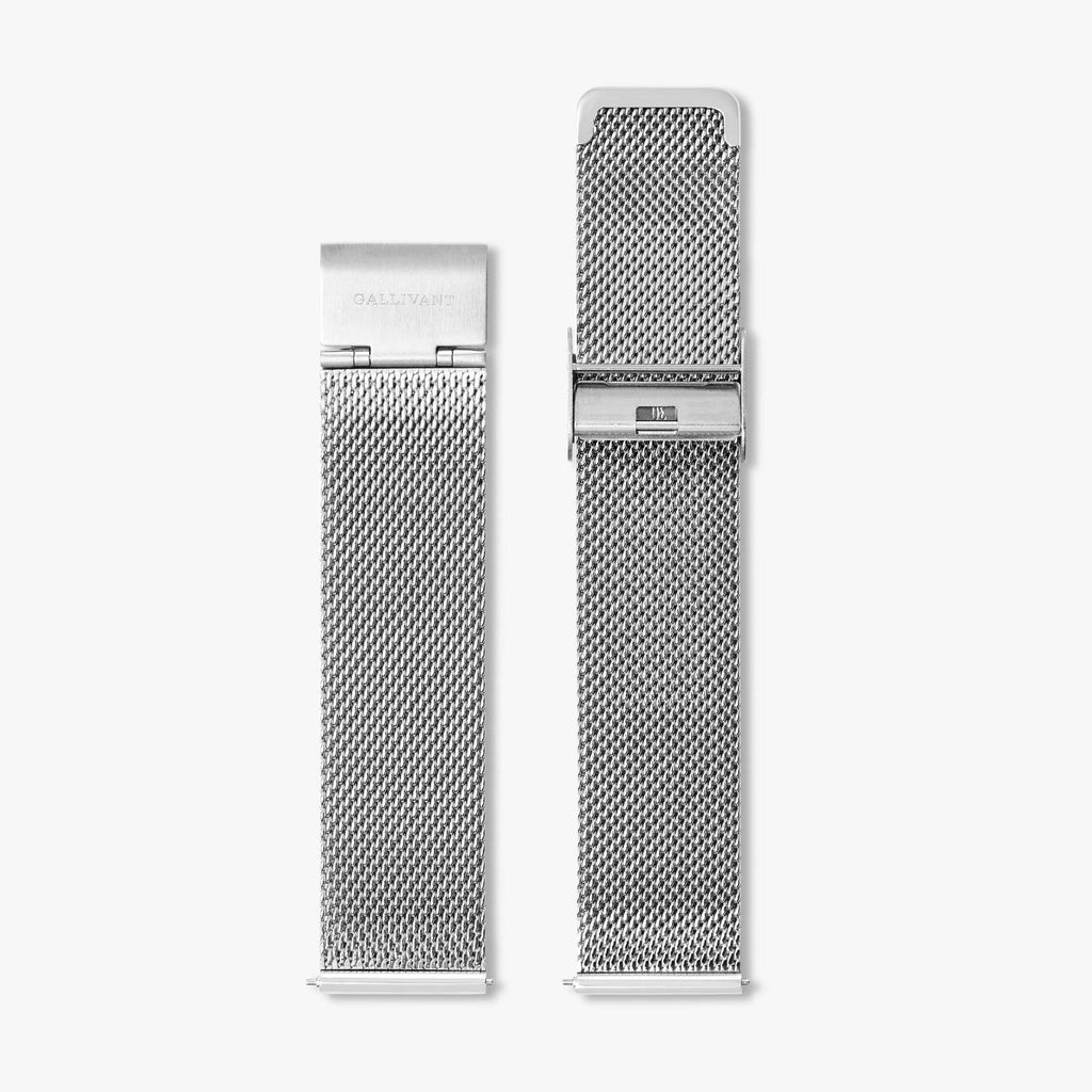 Stainless steel silver mesh strap with silver fold over clasp and quick-release system.