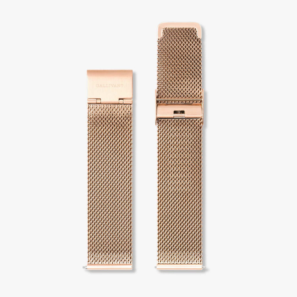 Stainless steel rose gold mesh strap with rose gold fold over clasp and quick-release system.