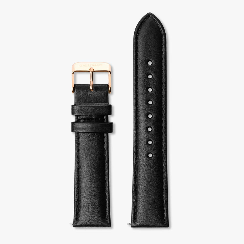 Black Italian leather strap with rose gold buckle and quick-release system.