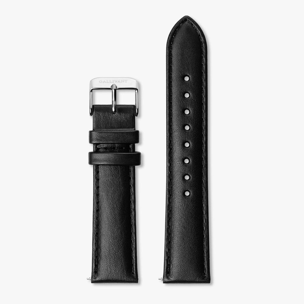Black Italian leather strap with silver buckle and quick-release system.