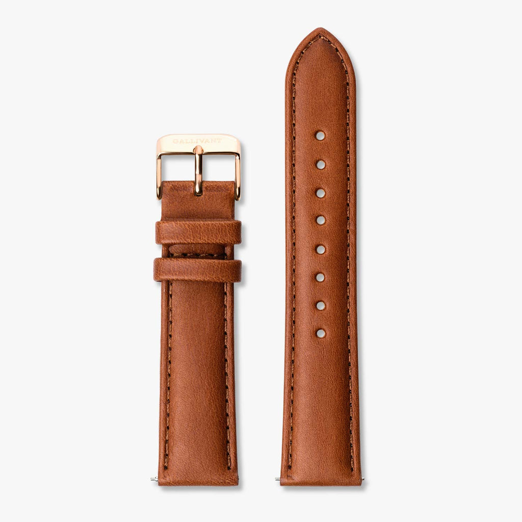 Tan Italian leather strap with rose gold buckle and quick-release system.