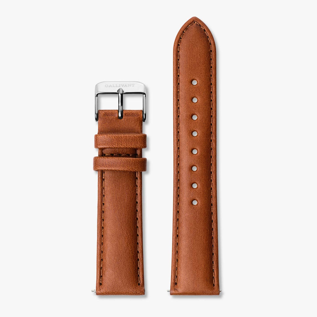 Tan Italian leather strap with silver buckle and quick-release system.