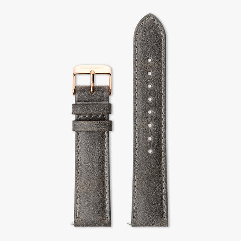 Charcoal grey suede strap with rose gold buckle and quick-release system.