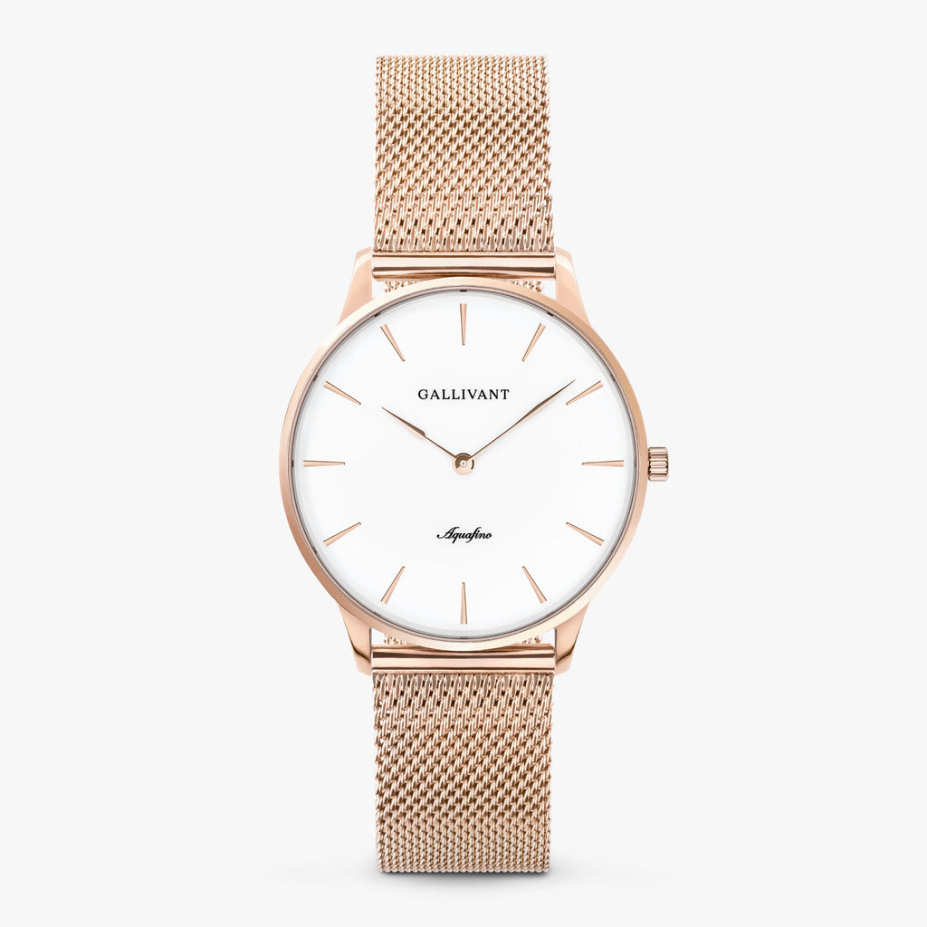 Gallivant Women's Aquafino watch with stainless steel rose gold mesh strap, rose gold case and white dial.