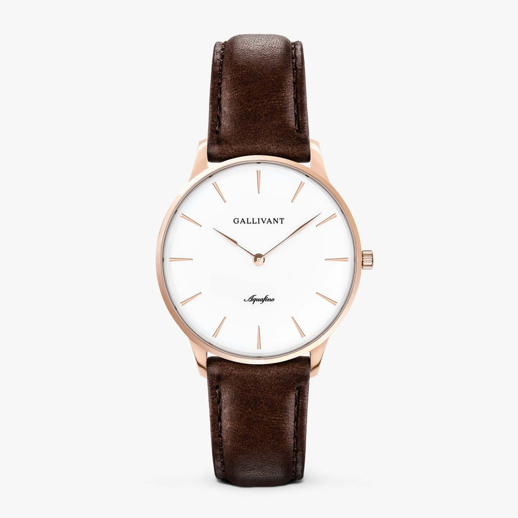 Gallivant Women's Aquafino watch with chestnut brown leather strap, rose gold case and white dial.