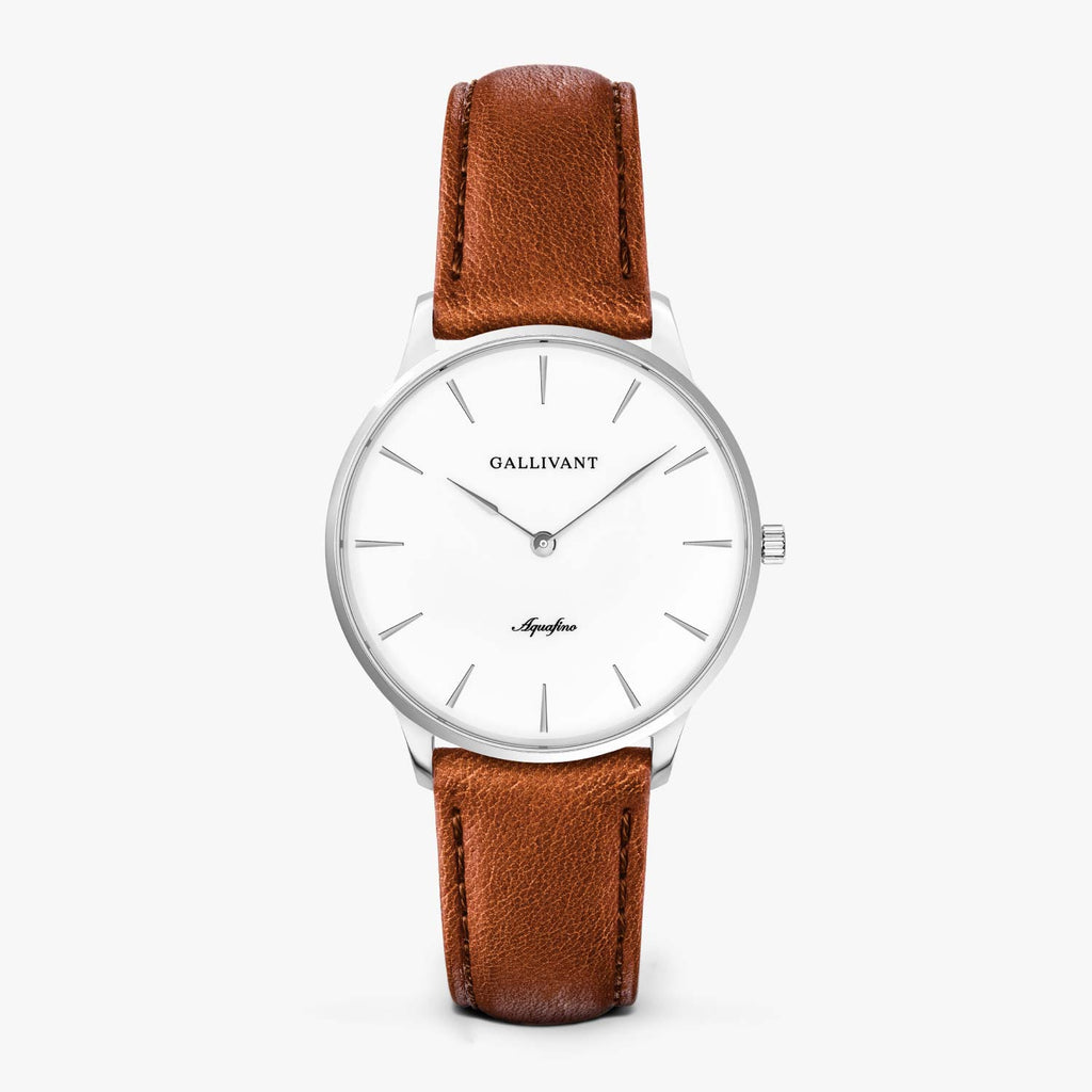 Gallivant Women's Aquafino watch with tan leather strap, silver case and white dial.