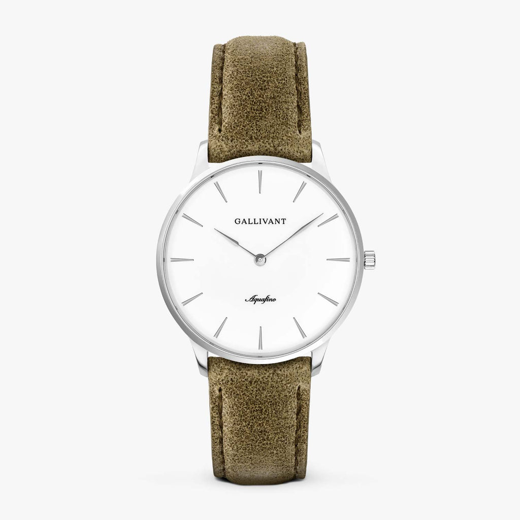 Gallivant Women's Aquafino watch with olive green suede strap, silver case and white dial.