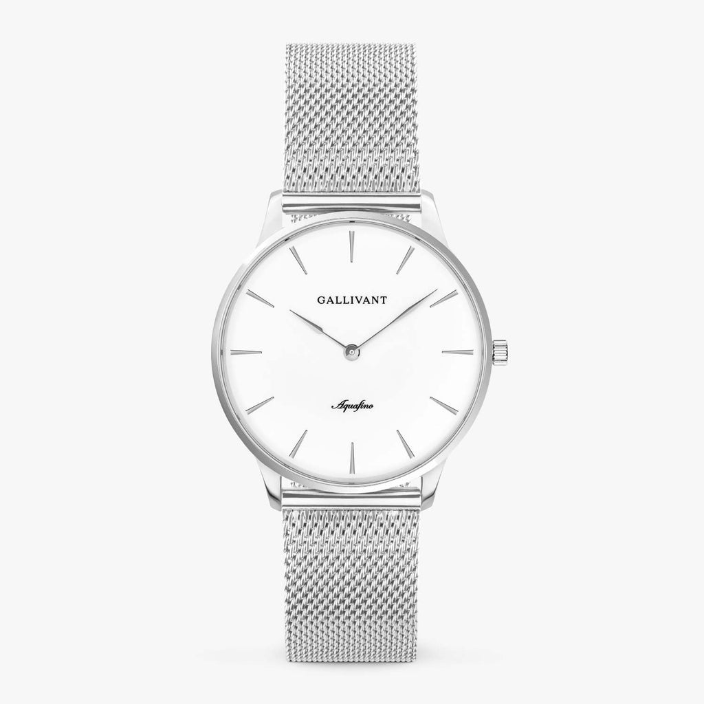 Gallivant Women's Aquafino watch with stainless steel silver mesh strap, silver case and white dial.
