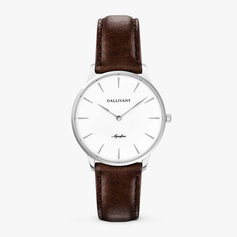 Gallivant Women's Aquafino watch with chestnut brown leather strap, silver case and white dial.