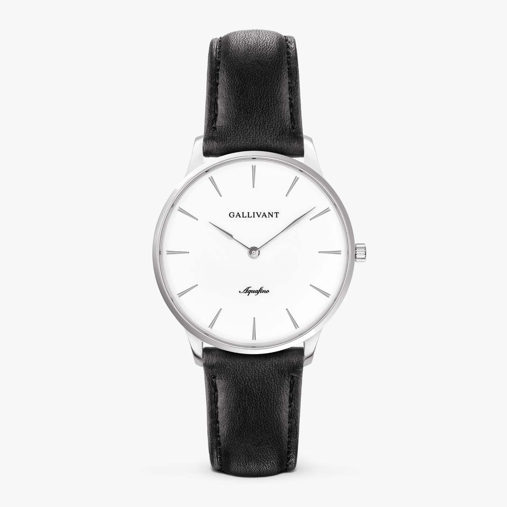 Gallivant Women's Aquafino watch with black leather strap, silver case and white dial.