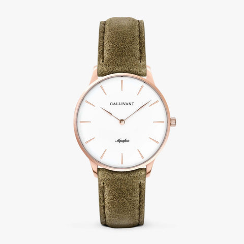 Gallivant Women's Aquafino watch with olive green suede strap, rose gold case and white dial.