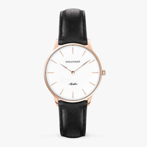 Gallivant Women's Aquafino watch with black leather strap, rose gold case and white dial.