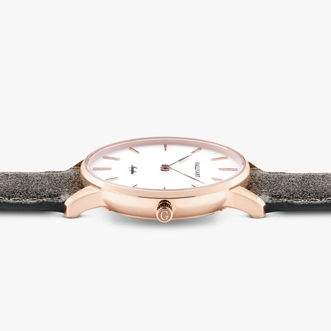 Side of Gallivant Women's Aquafino watch with charcoal grey suede strap, white dial and rose gold case.