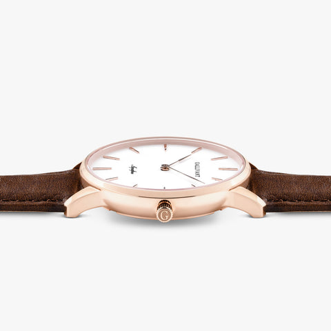 Side of Gallivant Women's Aquafino watch with chestnut brown leather strap, white dial and rose gold case.