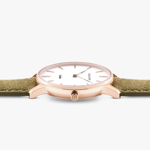 Side of Gallivant Women's Aquafino watch with olive green suede strap, white dial and rose gold case.