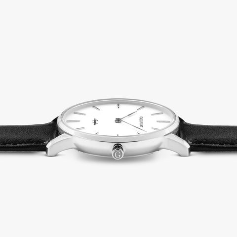 Side of Gallivant Women's Aquafino watch with black leather strap, white dial and silver case.