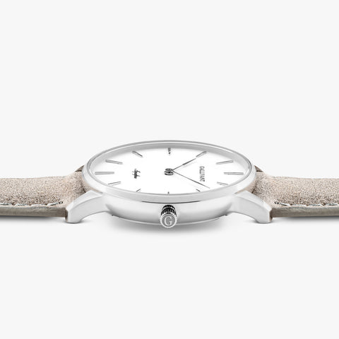 Side of Gallivant Women's Aquafino watch with light grey suede strap, white dial and silver case.
