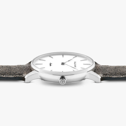 Side of Gallivant Women's Aquafino watch with charcoal grey suede strap, white dial and silver case.