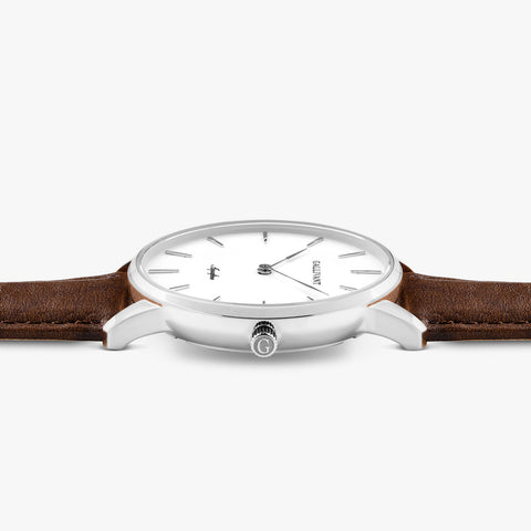 Side of Gallivant Women's Aquafino watch with chestnut brown leather strap, white dial and silver case.