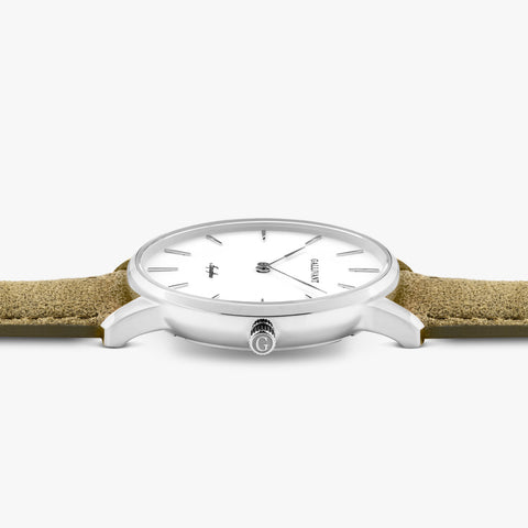 Side of Gallivant Women's Aquafino watch with olive green suede strap, white dial and silver case.