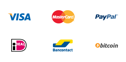 Visa, Mastercard, Paypal, Ideal, Bancontact and Bitcoin