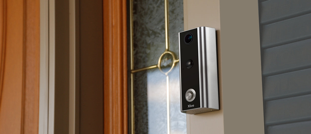 Xlive video doorbell on a door frame