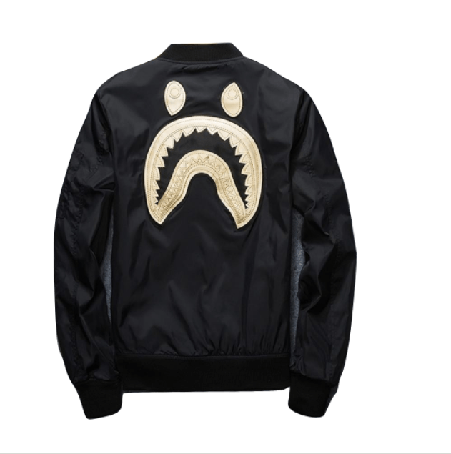 Mad Shark Embroidered Golden Bomber Jacket - COCA