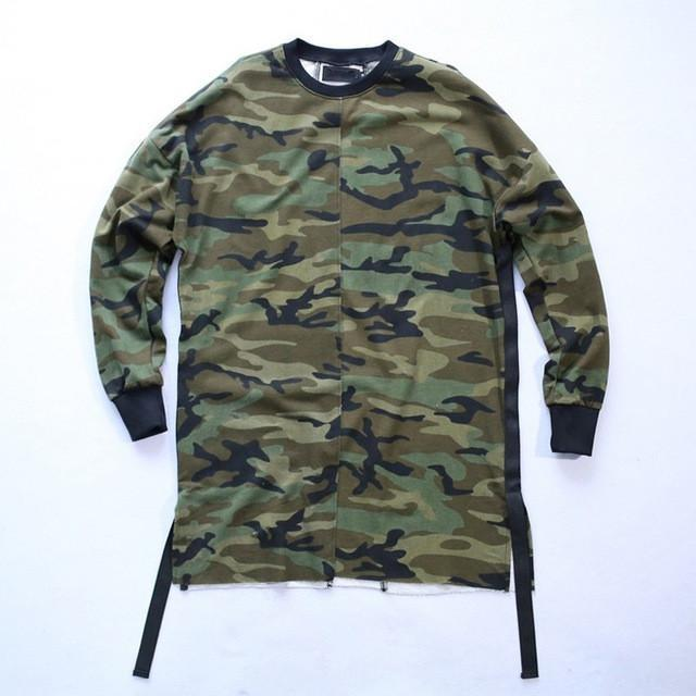 Army Green Camo Sweater With Straps - COCA