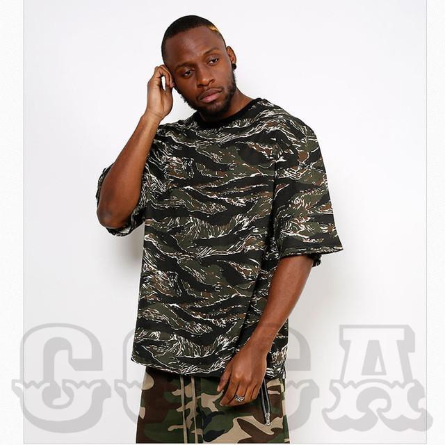 Oversized O-Neck Camo T-Shirt - COCA